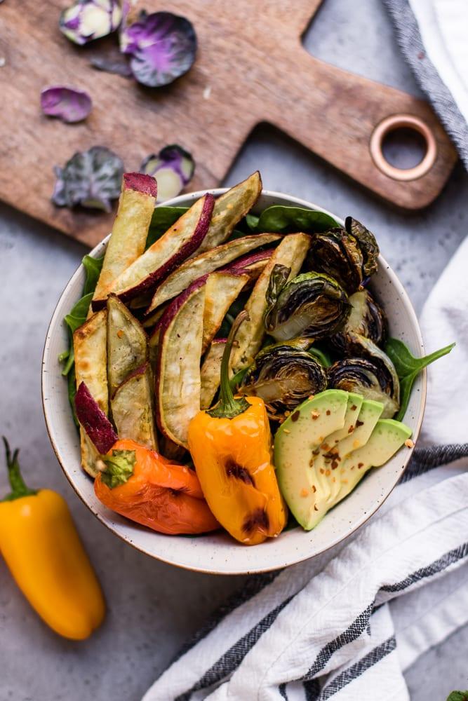 Healthy Vegan Sweet Potato Spinach Bowl