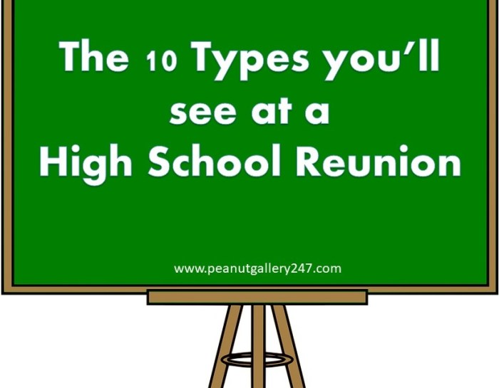 High School Reunion – Ten Types you'll see