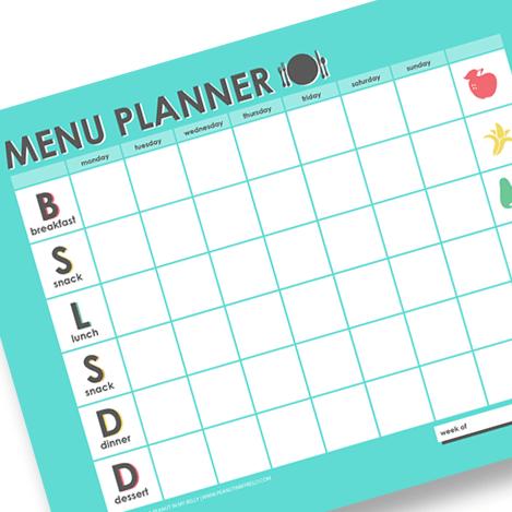 free family menu planner digital file printable peanut in my belly