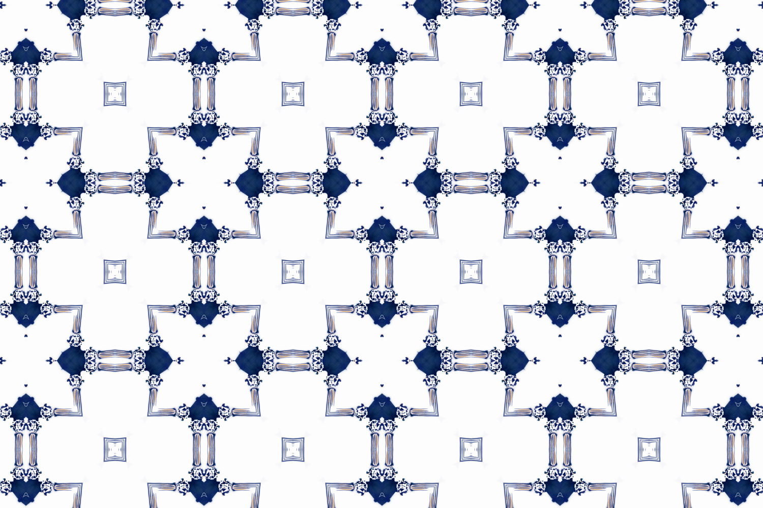 Dido Sapphire Blue And White Chinoiserie Lattice Fabric Pearl