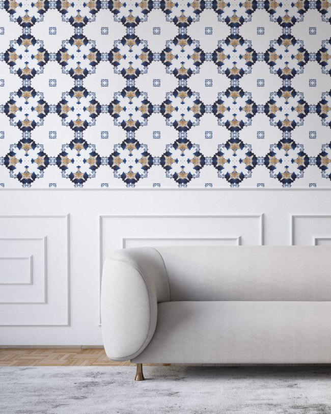 los angeles art deco wallpaper navy blue and white