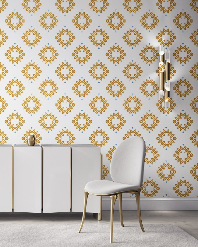 Emmett is an orange, white and blue wallpaper designed in Los Angeles. This diamond pattern wallpaper is perfect for casual luxury homes. Design - Emmett by Pearl and Maude. Vellum wallpaper comes untrimmed. Standard wallpaper comes pre-pasted.