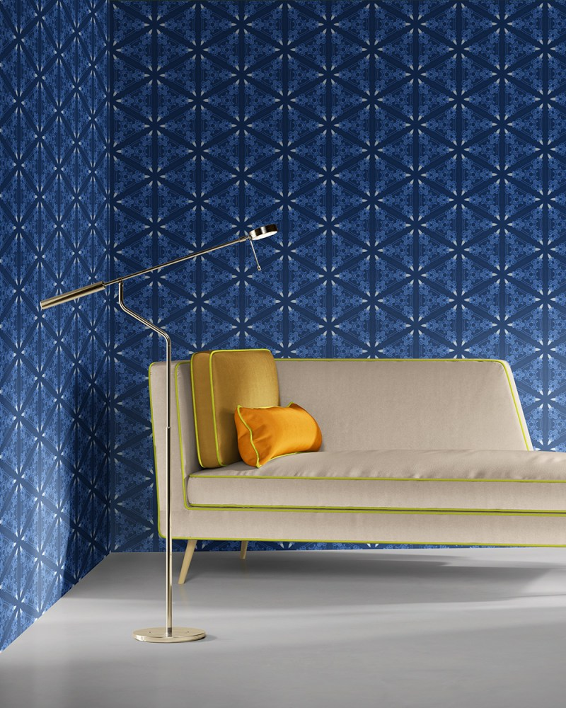Bunsen indeep blues is a geometric and colorful artisanal wallpaper designed in Los Angeles. Design - Bunsen by Pearl and Maude. Grasscloth wallcovering comes untrimmed.