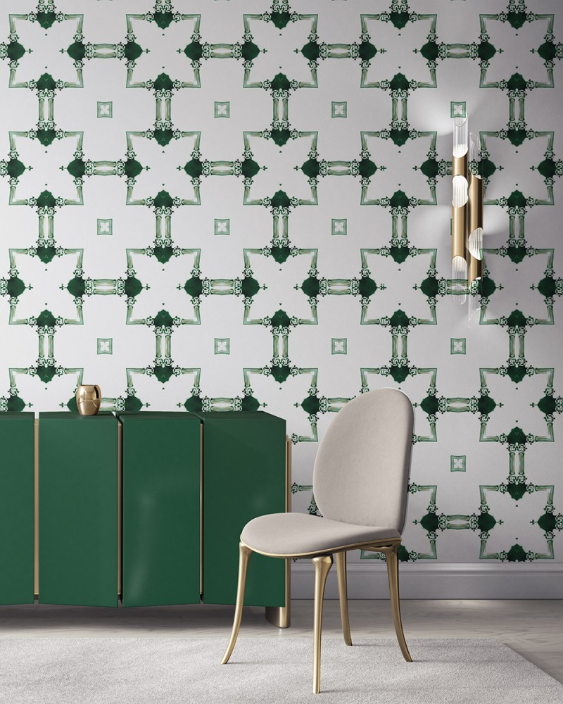 Dido is a traditional, tailored wallpaper in emerald green on white. This lattice patterned wallpaper is perfect for traditional interior design. Design - Dido by Pearl and Maude. Vellum wallpaper comes untrimmed. Standard wallpaper comes pre-pasted.