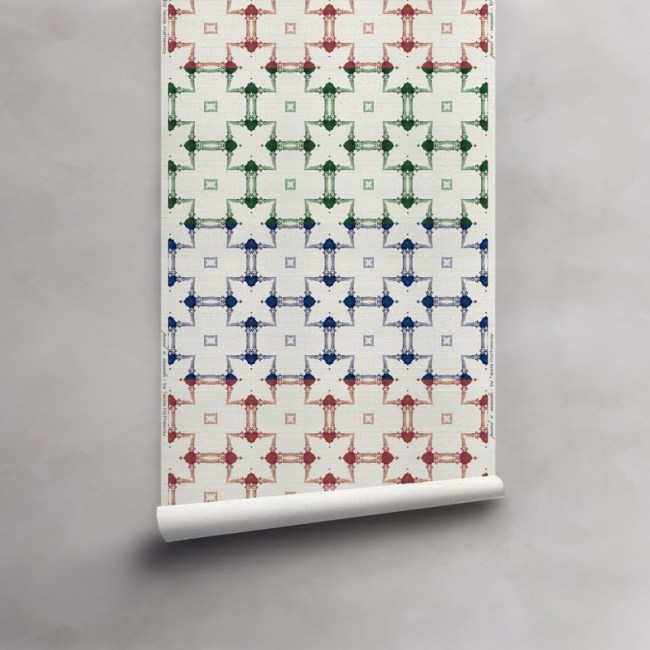 Roll of red, green, blue stripe on cream grasscloth wallcovering. Design - Dido by Pearl and Maude