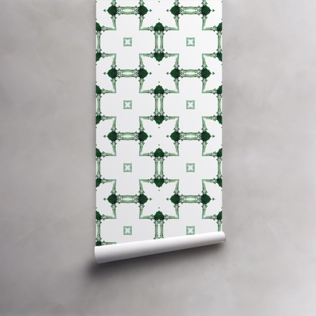 Roll of green and white wallpaper on standard pre-pasted paper. Design - Dido by Pearl and Maude