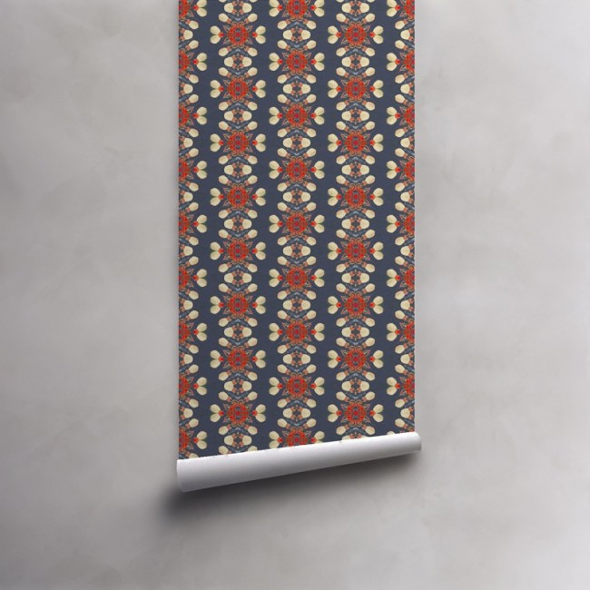 Roll of coral, cream and grey wallpaper on pre-pasted paper. Design - Arabella by Pearl and Maude