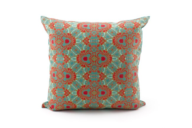 Carmen turquoise, coral throw pillow patterned front