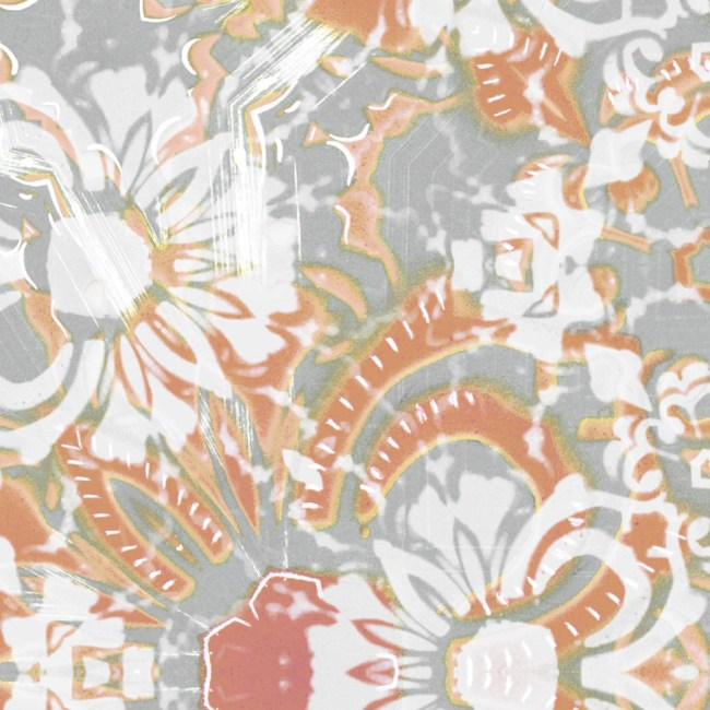 A detail swatch of Pearl & Maude's abstract floral Carmen vellum wallpaper in clay pink and grey