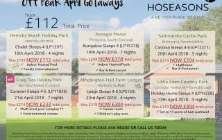 Pearl King Travel - Hoseasons Off Peak April 18 Getaway Offers