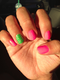 Hot Pink And Lime Green Nail Designs