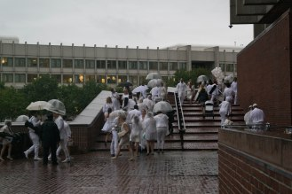 I love this photo of guests arriving. It makes me think of a rainy day Renoir.