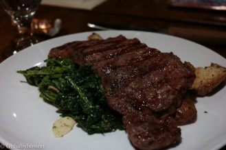 The Bistecca at Artú is a grass fed New York strip steak served with broccoli rabe and roasted potatoes. The meat was cooked perfectly and the portion was definitely generous.