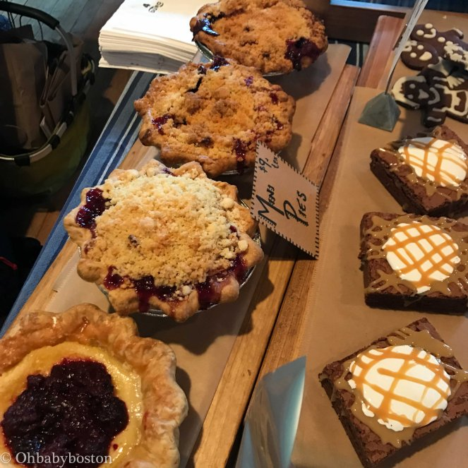 Pies from Mariposa Bakery in Central Square, at the Somerville Winter's Market.