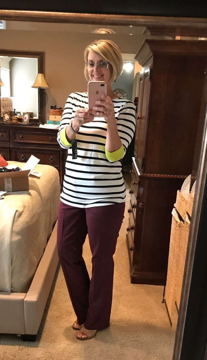 Colette Chavez Pop Color Cuff Knit Top styled with the Liverpool Harper Bootcut Pant