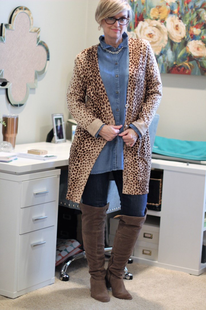 Denim and Leopard Print Cardigan