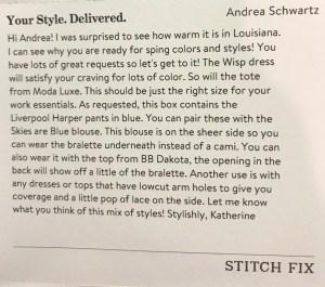 Stitch Fix Stylist Note