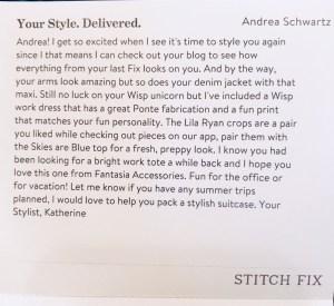 Stitch Fix Stylist's note