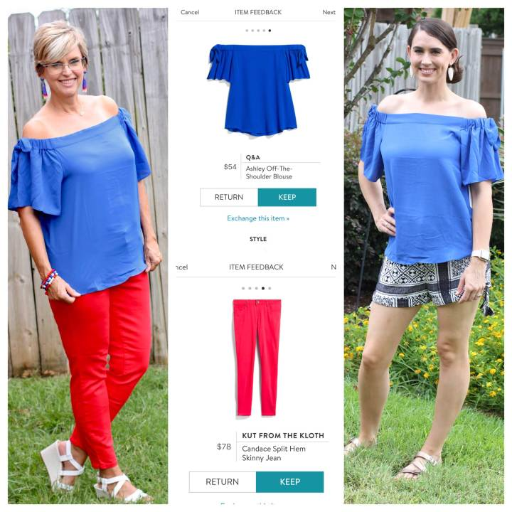 Q&A Ashley Off-The-Shoulder Blouse | Kut From the Kloth Candace Split Hem Skinny Jean