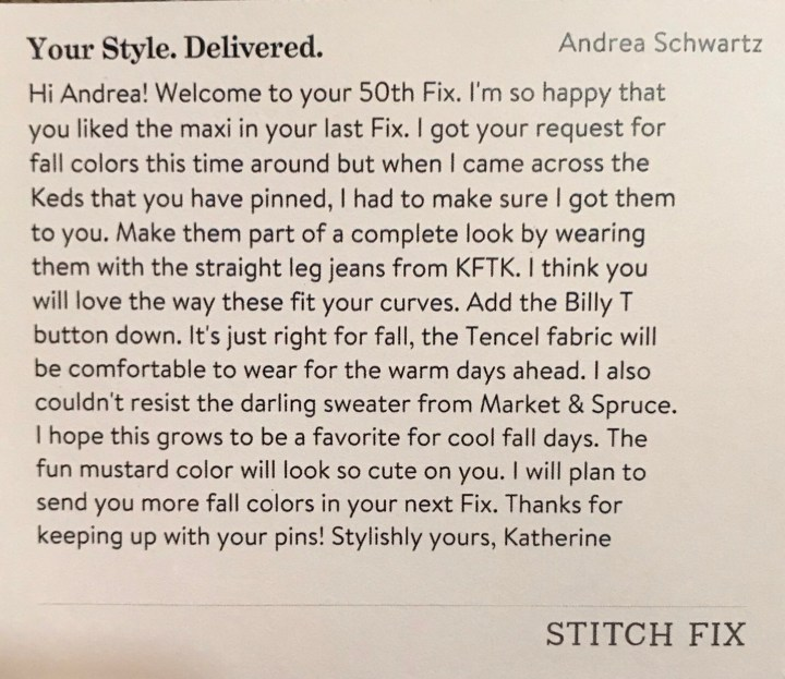 Stitch Fix Stylist Note