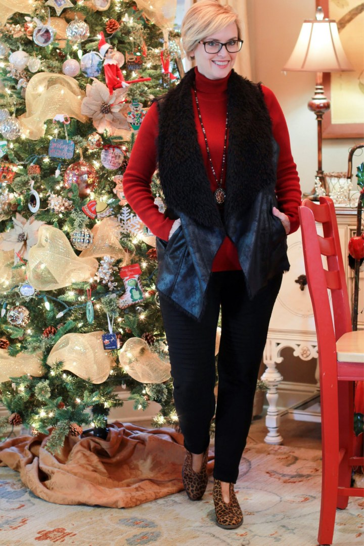 Fur Vest and MOto Leggings