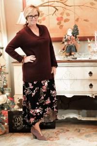 Colette Madyson Faux Wrap Knit Midi Skirt