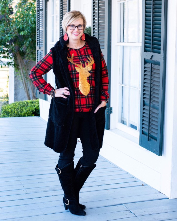 Plaid top with fur vest