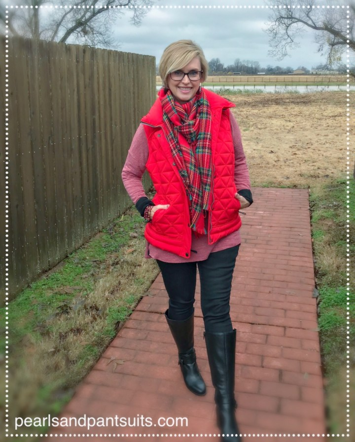 red puffy vest