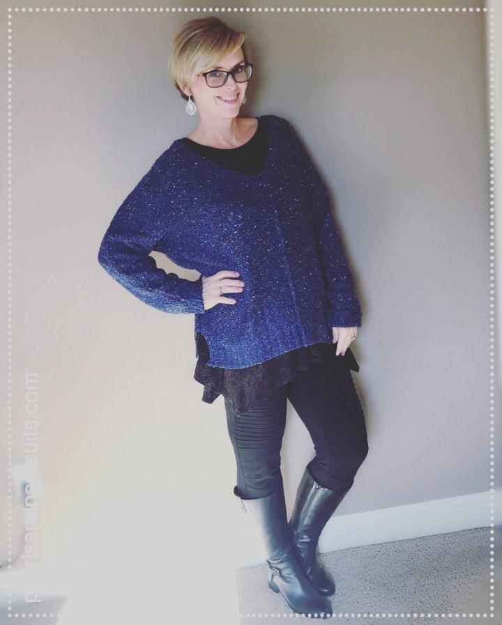 blue sweater combo