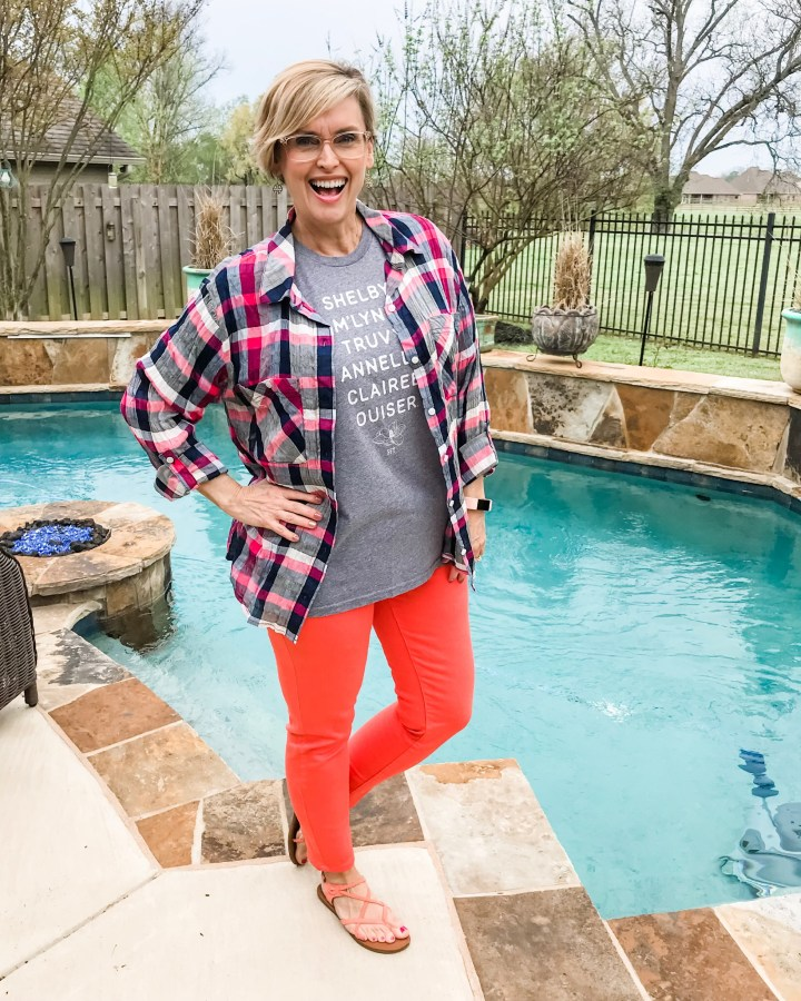 Coral Jeans and Plaid Top