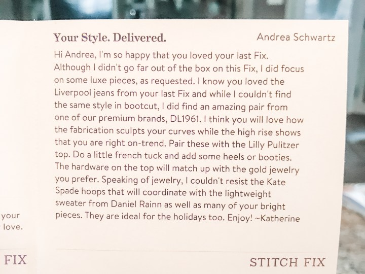 October Stylist's Note