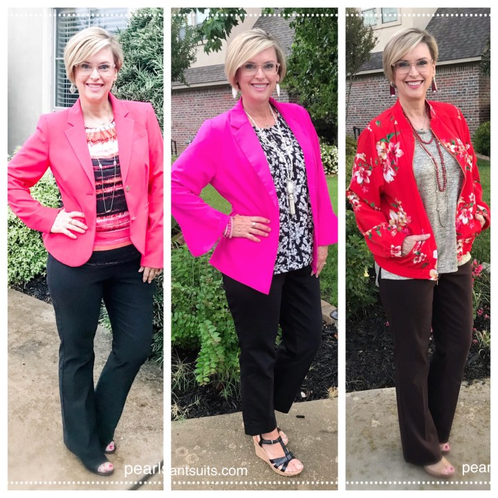 colorful jackets worn over basic outfits