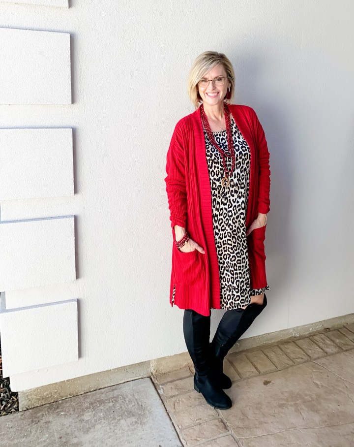 Leopard dress and red cardigan