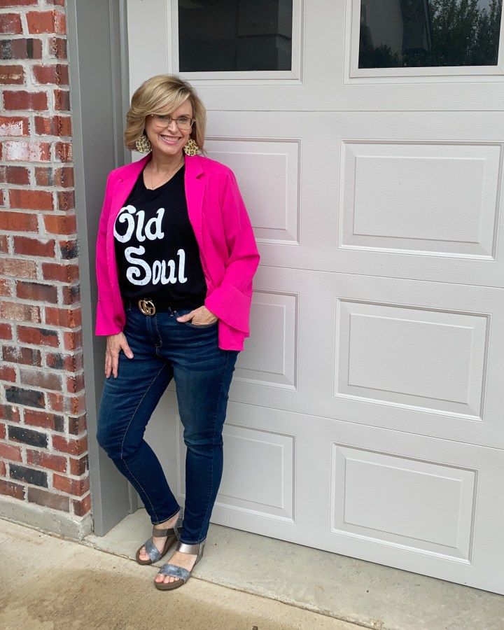Hot Pink Blazer styled with graphic tee