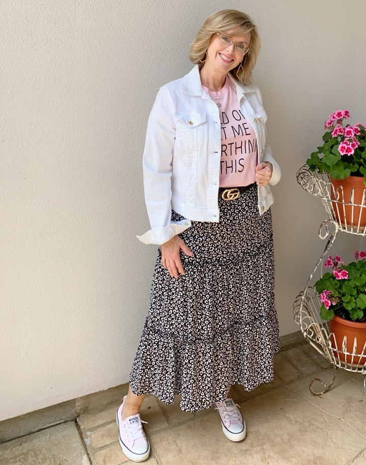 denim jacket, graphic tee and tiered skirt