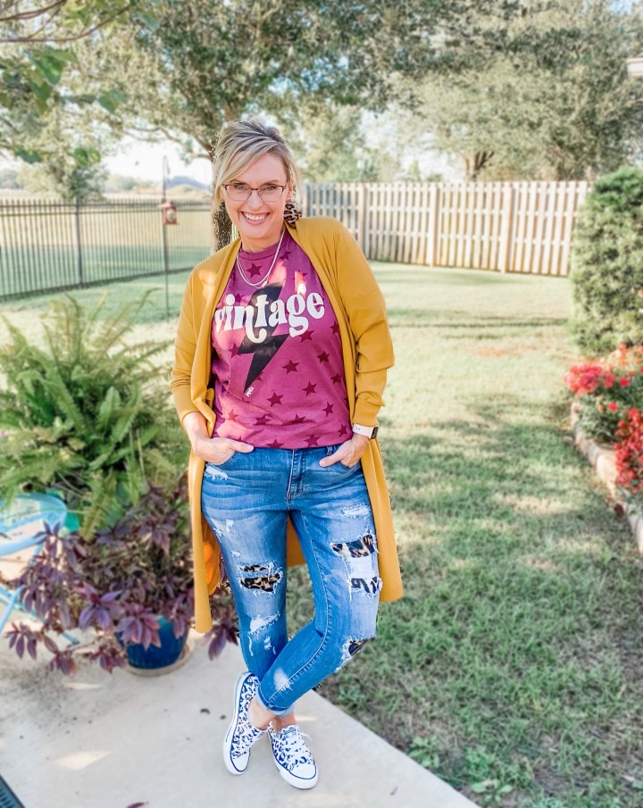 yellow cardigan and graphic tee