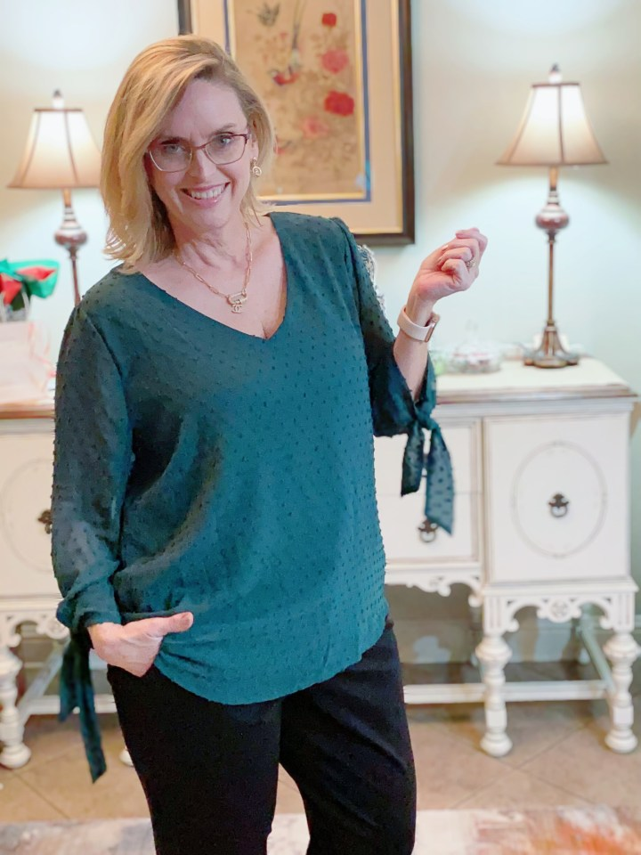 Teal Green Swiss Dot Blouse