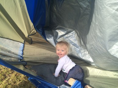 Rayna could not have enjoyed setting up the tent more.