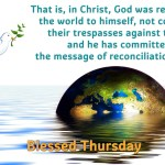 That is, in Christ, God was reconciling the world to himself