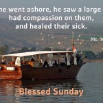 When he went ashore, he saw a large crowd, had compassion on them