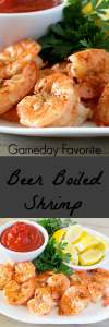 Shrimp cooked in a simple, yet delicious, beer bath. Can be served hot or cold.