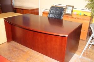 Bradford Series Medium Cherry Wood Bowfront Desk ...
