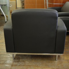Aeron Chair Sale Covers For Decoration Chelsea Black Leatherette & Chrome Club Chairs • Peartree Office Furniture