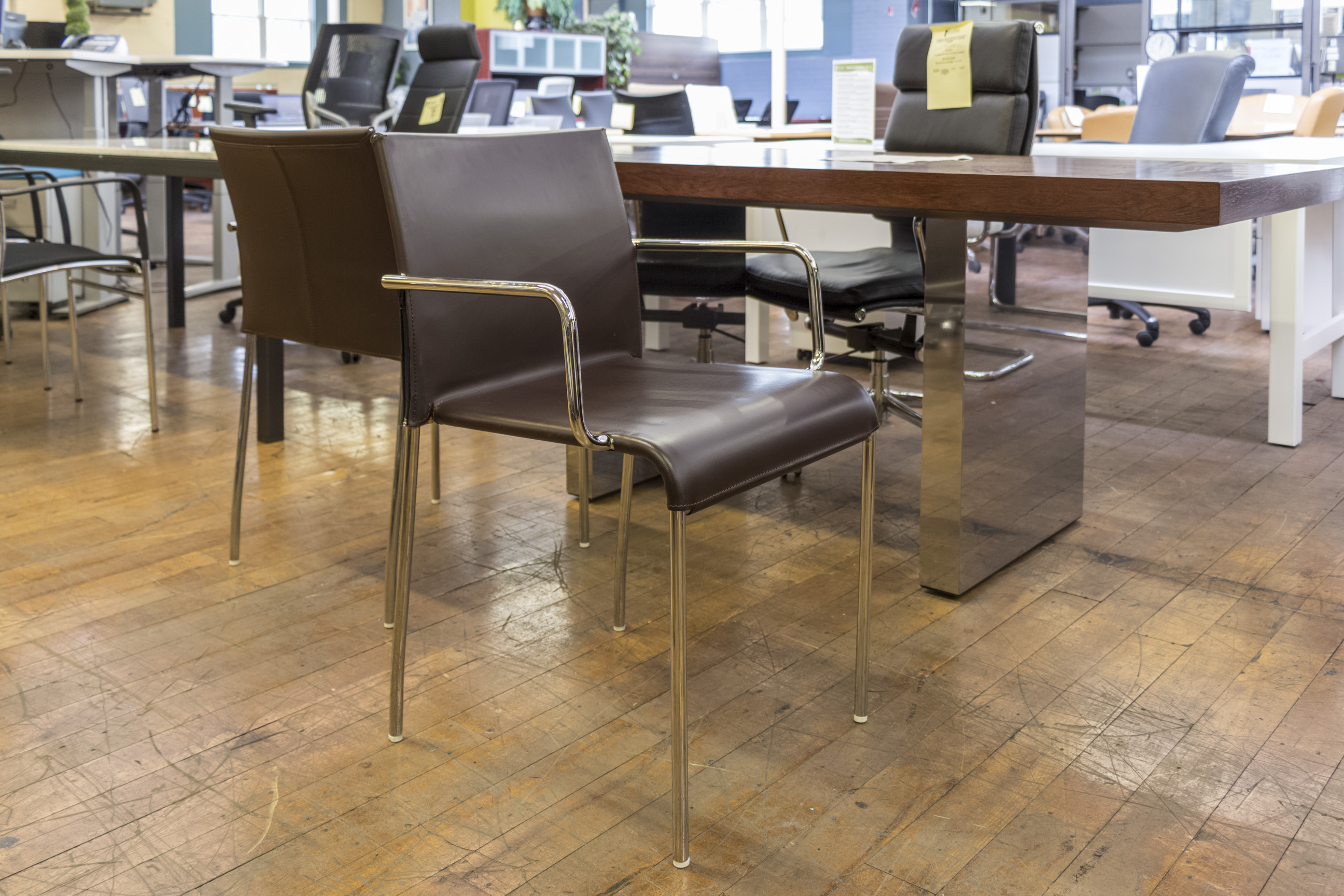 brown office guest chairs mahogany dining room indx designs leather chrome stacking peartree mg 2329