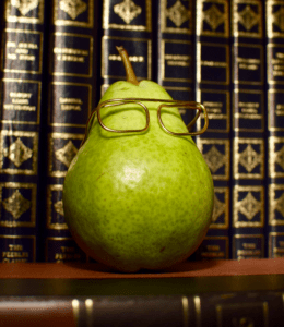 Pearwise, Logo, glasses, pear, library