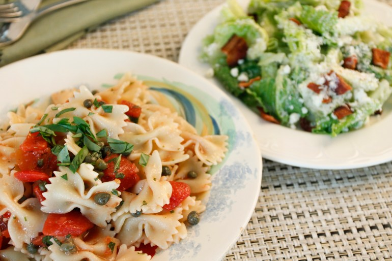 Bowtie Pasta and Caesar Salad