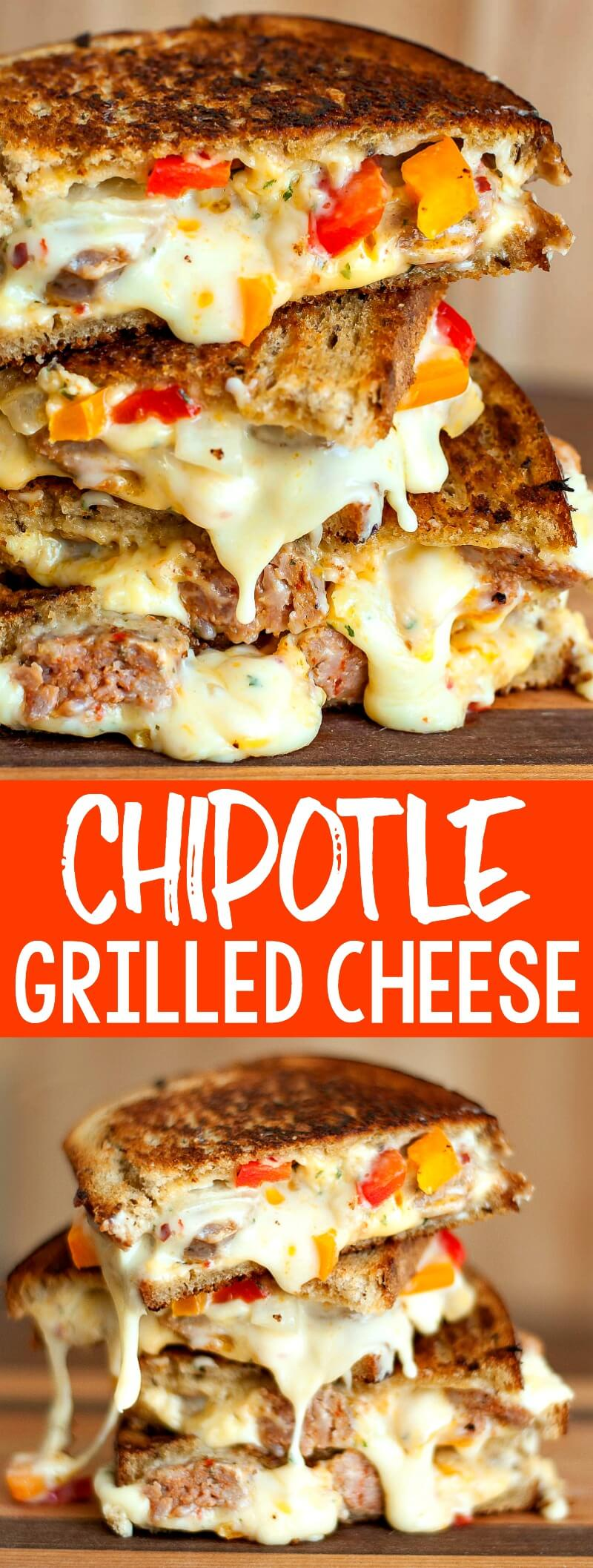 Sausage and Pepper Chipotle Grilled Cheese FTW!Sautéedsausage and peppers are stuffed into the cheesiest, meltiest grilled cheese ever! #grilledcheese #chipotle #comfortfood