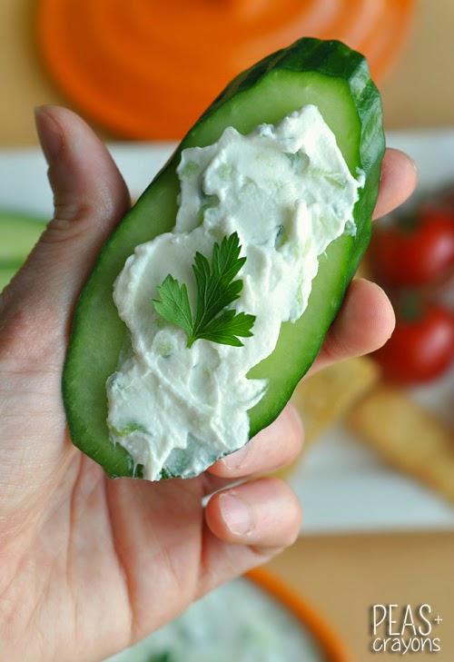 Tzatziki Dip on a Cucumber