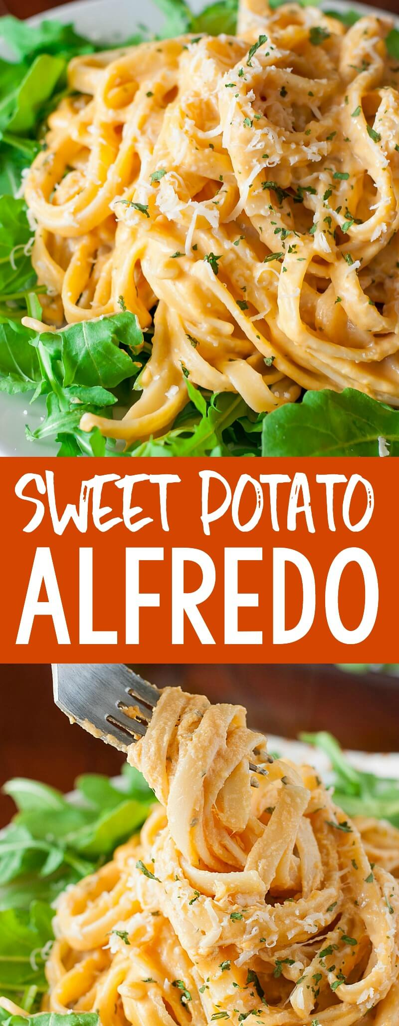 This quick and easy Sweet Potato Alfredo is a tasty twist on a comfort food classic! #pasta #alfredo #sweetpotato #comfortfood #pastanight #fall #fallrecipes #dinner