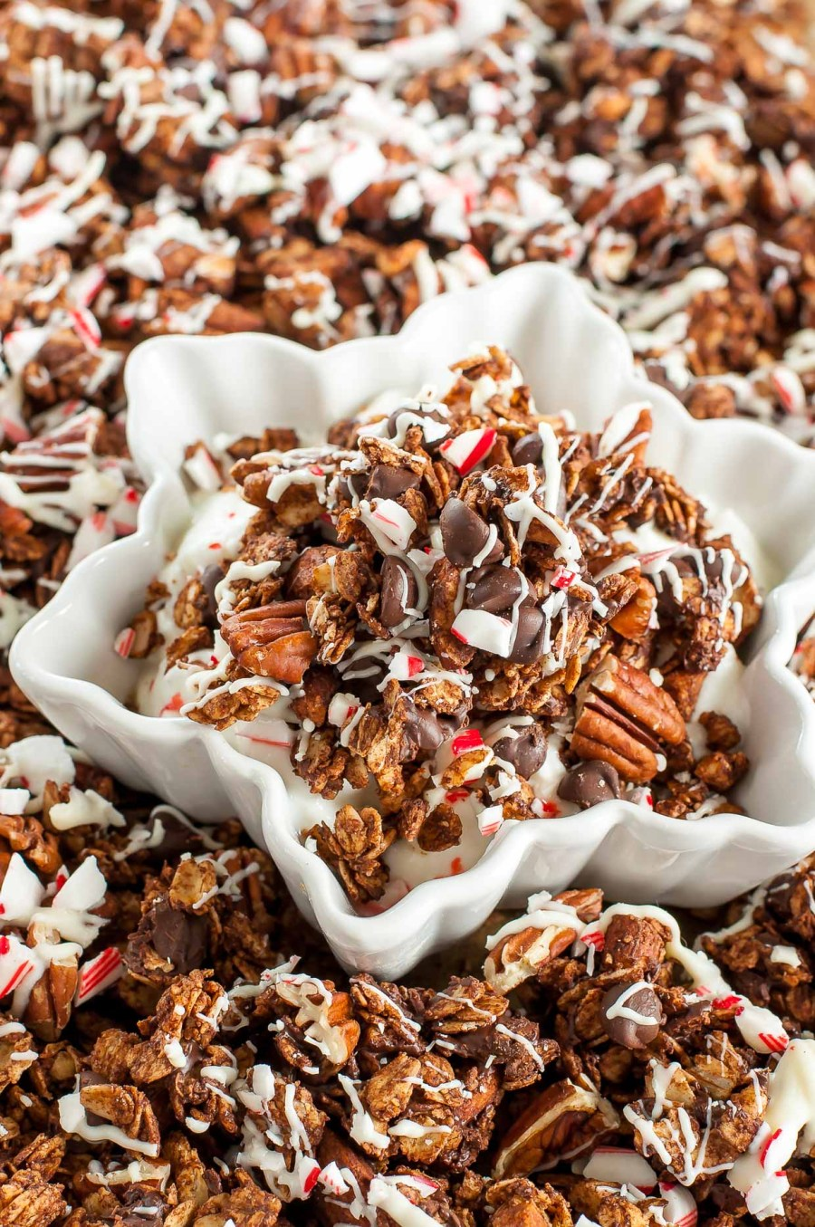 Homemade Peppermint Bark Granola :: Prepare to have your socks rocked by this triple chocolate peppermint bark granola!